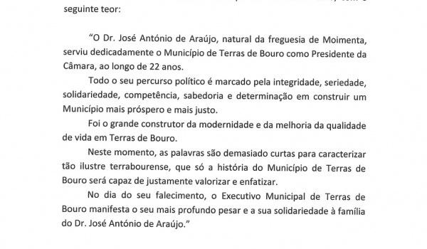 Voto de pesar pelo falecimento do Exmo. Senhor Dr. José António de Araújo, ex-presidente da Câmara Municipal