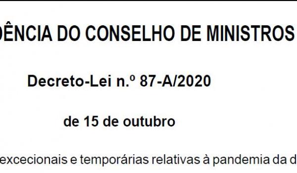 Alteração geral das medidas excecionais e temporárias relativas à pandemia da doença COVID-19 - Decreto-Lei n.º 87-A/2020 de 15 de outubro