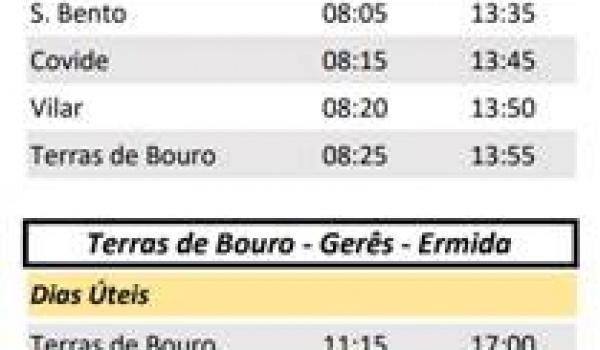 Disponibilidade da linha de transporte público entre a Ermida e a Vila do Gerês