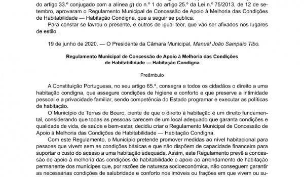 Município de Terras de Bouro cria o Regulamento Municipal de Concessão de Apoio à Melhoria das Condições de Habitabilidade — Habitação Condigna